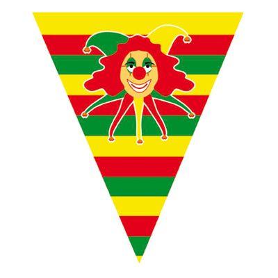 Carnaval vlaggenlijn met clowntje. Deze carnaval vlaggenlijn met de afbeelding van clown in de kleuren geel, groen en rood heeft een lengte van ongeveer 5 meter. Materiaal: Plastic.