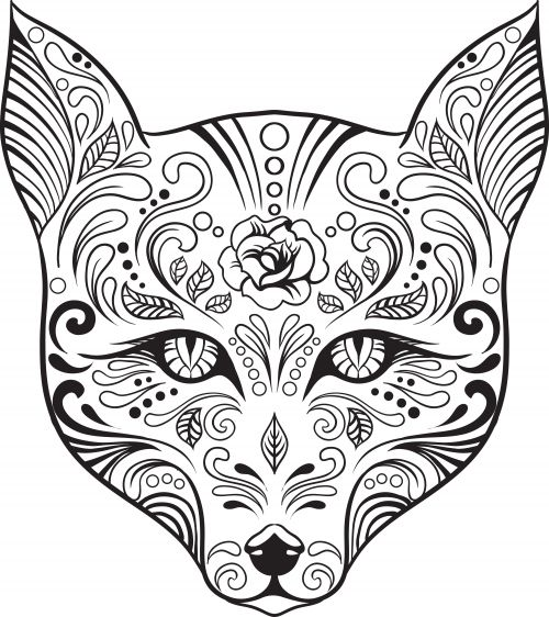 Cat Cats Kitty Kitties Kitten Kittens Feline Katze chat gatto cat котэ  kočka druku gato katt macska tulostettava Day of the Dead dia de los muertos Sugar Skull Coloring pages colouring adult detailed advanced printable Kleuren voor volwassenen coloriage pour adulte anti-stress kleurplaat voor volwassenen Line Art Black and White