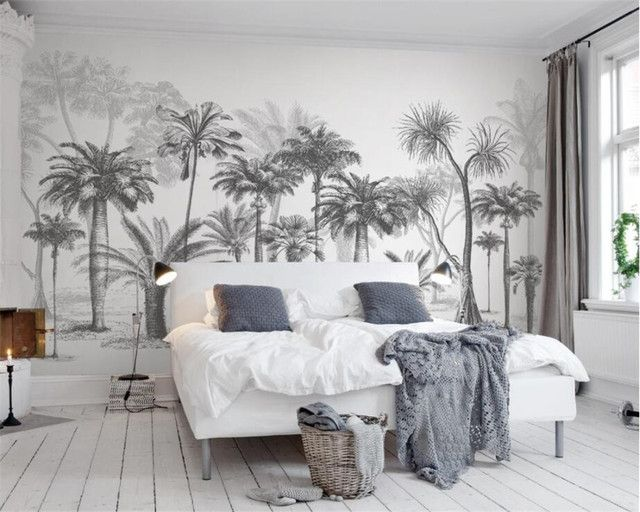 Papier peint personnalisé Mural noir et blanc croquis forêt tropicale cocotier nordique TV canapé fond 3d papier peint Beibehang