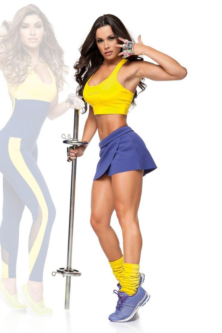 top-amarelo-e-shorts-saia-azul-rola-moca-04131am17-18120az28 Dani Banani Moda Fitness