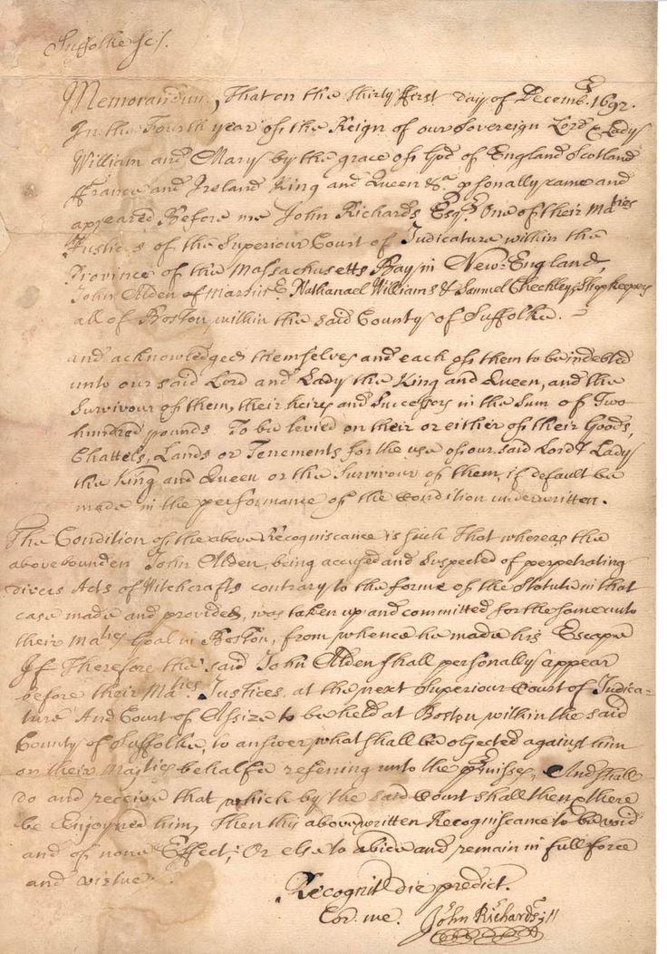 The Salem witchcraft papers, John Alden's case