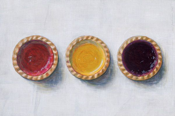 jam tart painting by artist Joel Penkman.  mmmmm blueberry tart.  If I could swim naked in a pool of blueberry tart filling, I would be in there in a second.