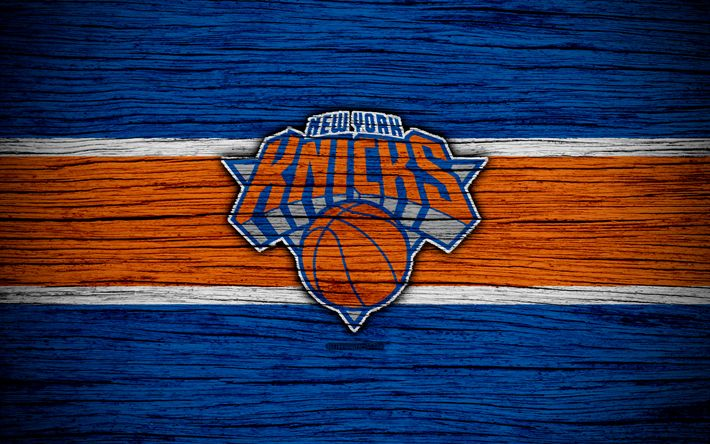 Download wallpapers 4k, New York Knicks, NBA, wooden texture, basketball, Eastern Conference, NY Knicks, USA, emblem, basketball club, New York Knicks logo