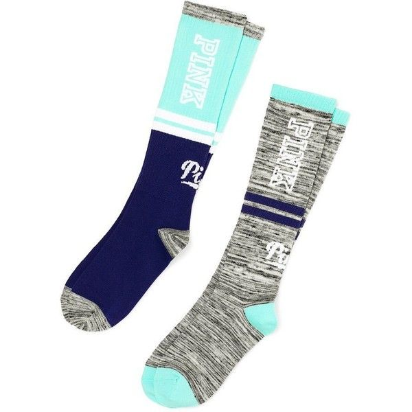 Victoria's Secret PINK Knee High Sock 2 Pairs Seafoam/Grey Marl at... ($35) ❤ liked on Polyvore featuring intimates, hosiery, socks, gray knee high socks, grey socks, gray socks, victoria secret socks and knee hi socks
