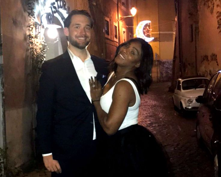 Tennis champion Serena Williams posted a rare PDA photo with her fiance, Alexis Ohanian, on Monday, April 17, during a trip to the beach.