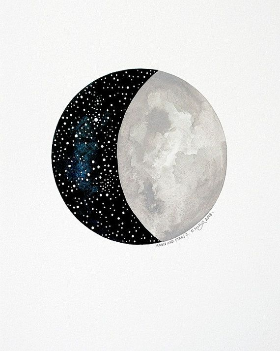 RESERVED - Moon and Stars 2 - Original Contemporary 8x10 Watercolour Painting - Night Sky, Constellations - by Natasha Newton