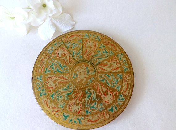 Large #Zenette Compact with Cherub & Dolphins, Vintage Loose #PowderCompact Mirror, Ladies #VintageVanity Make Up Store, Gift for Mom