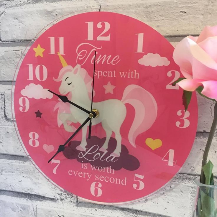 It's time to be a Unicorn  Personalised acrylic photo clocks