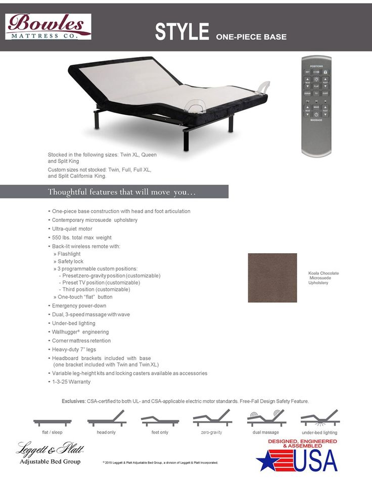 Style Adjustable Bed Product Sheet