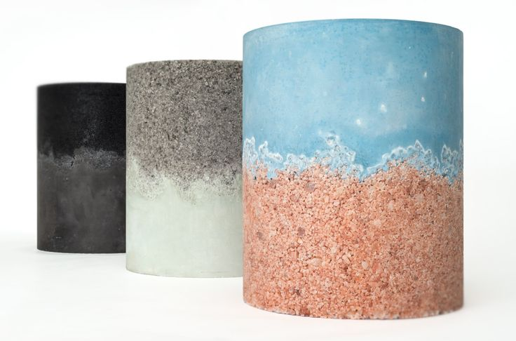 Stools made of pigmented concrete and salt crystals by AM|MA Studio NYC