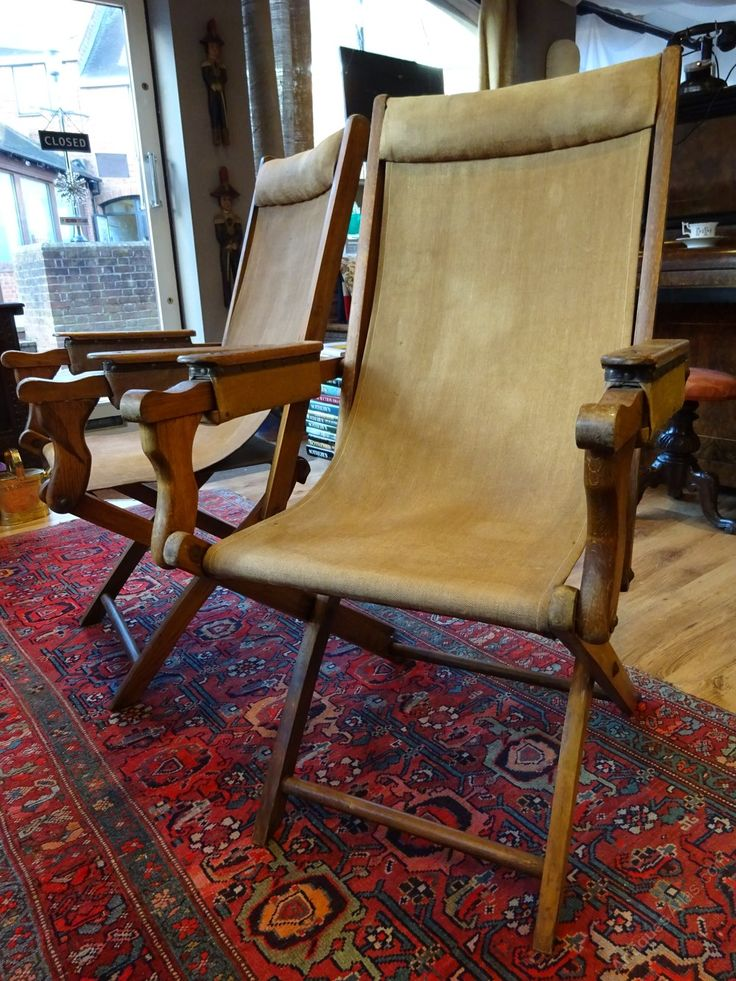 Antique Campaign Chairs, Pair Of Antique Campaign Adjustable Arm Chairs.  Superb And Rare Pair Of Antique Campaign Adjustable Folding