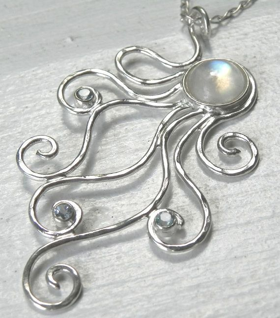 moonstone blue topaz octopus necklace