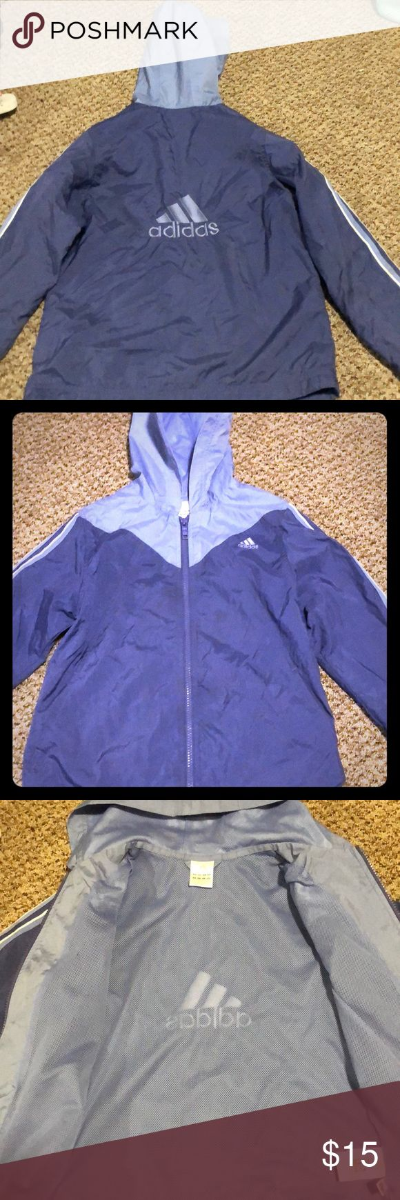 Adidas light jacket size 7/8 Adidas light jacket In great condition short of a few stains on it here and there. Smoke free home.. Adidas Jackets & Coats Raincoats