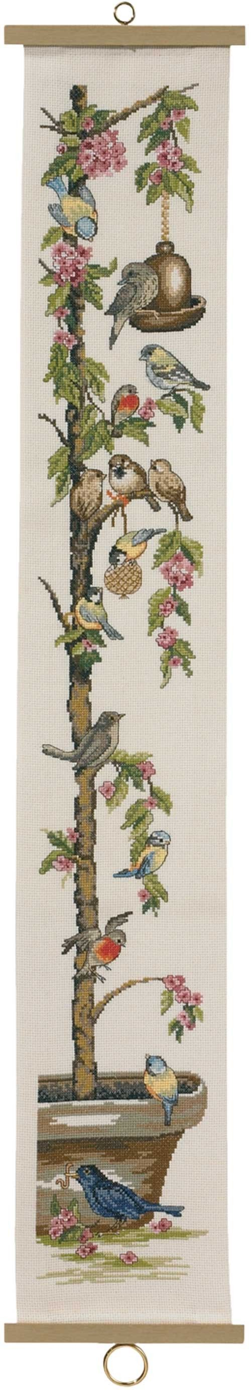 Feathered friends congregate at the prettiest meeting place in the garden.Counted cross-stitch kit includes 14-ct ivory Aida cloth, carded cotton floss, needle, chart and directions.6 1/2