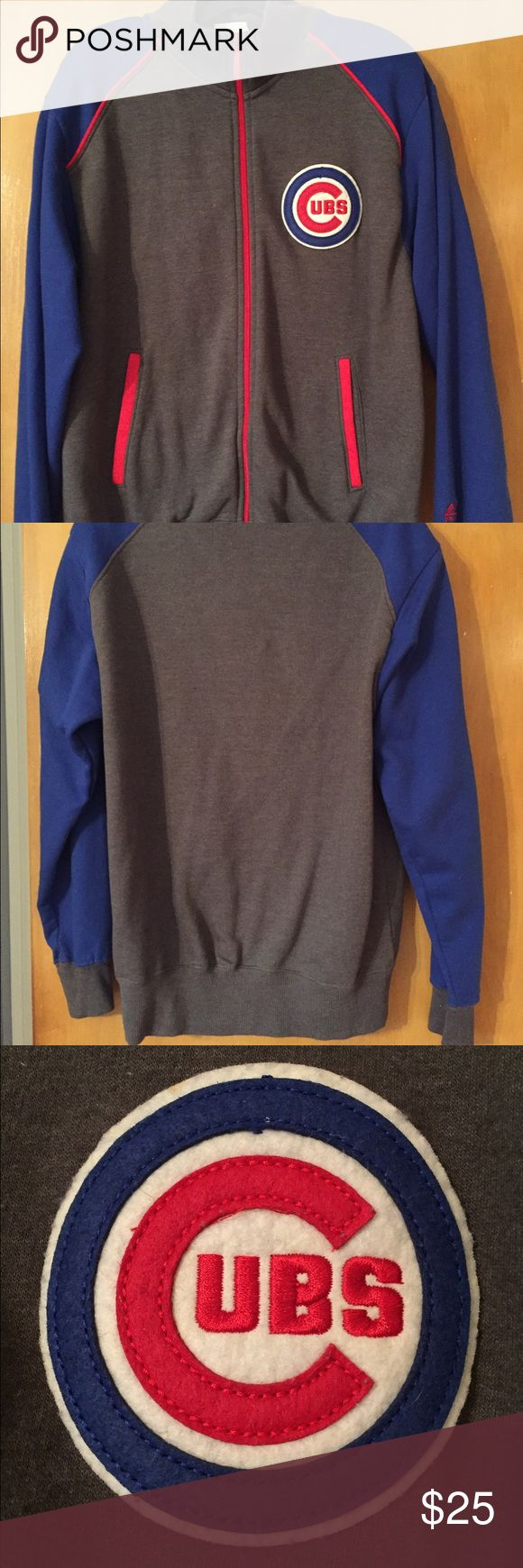 ⚾️Chicago Cubs men's medium zip up sweatshirt❤️💙 Like new Chicago Cubs size medium men's zip up sweatshirt! Super soft and comfy, gray sleeves with gray body & red detail. Stored in closet and rarely if ever worn. Majestic Jackets & Coats Lightweight & Shirt Jackets