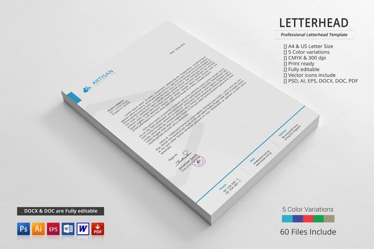 Corporate Letterhead Template Word, PSD, Ai and EPS Format