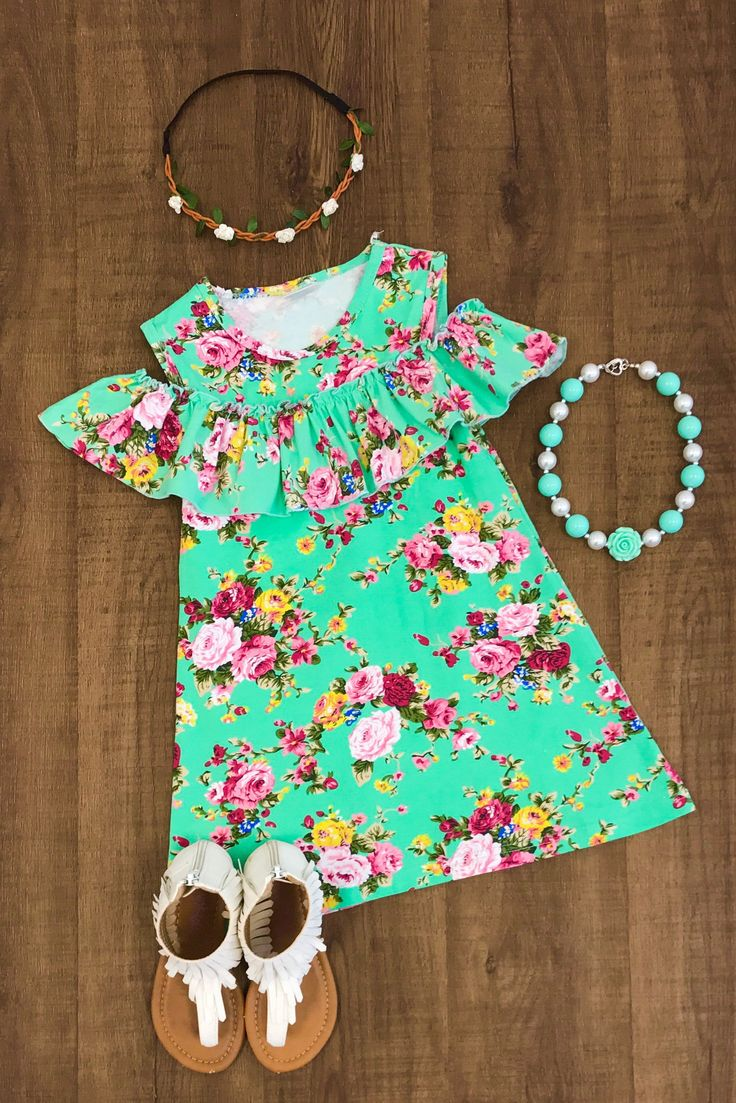 Mint Floral Off The Shoulder Dress