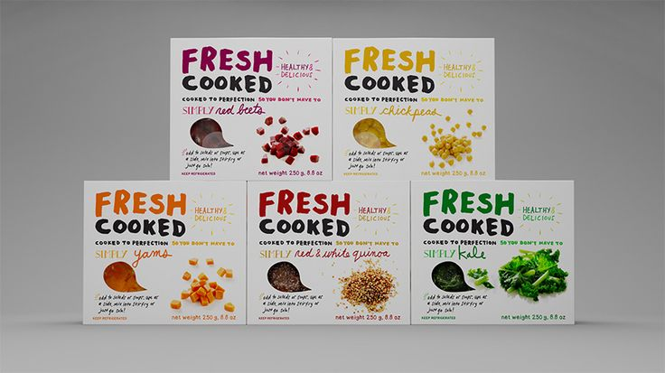 Fresh Cooked packaging by Dinnick & Howells  handwriting script by Tania Howells