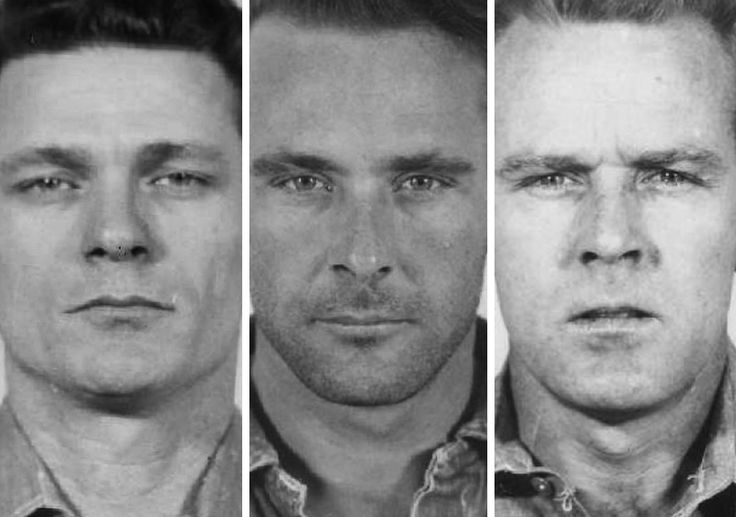 The prison mug shot of convicts, left to right, Frank Lee Morris, Clarence Anglin and John Anglin ( US department of Justice Handout via Reuters ) .
