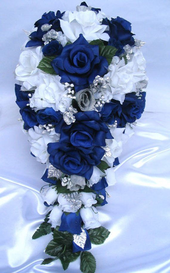 Wedding Bouquet Flowers Bridal Silk Cascade Dark Blue Royal Silver