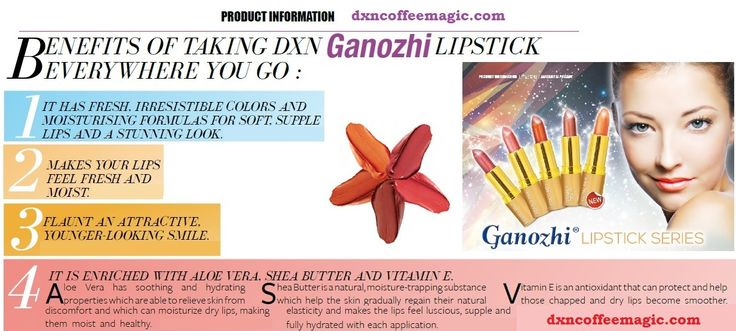 DXN Ganozhi Lipstick with Aloe Vera for your shiny, attractive lips.