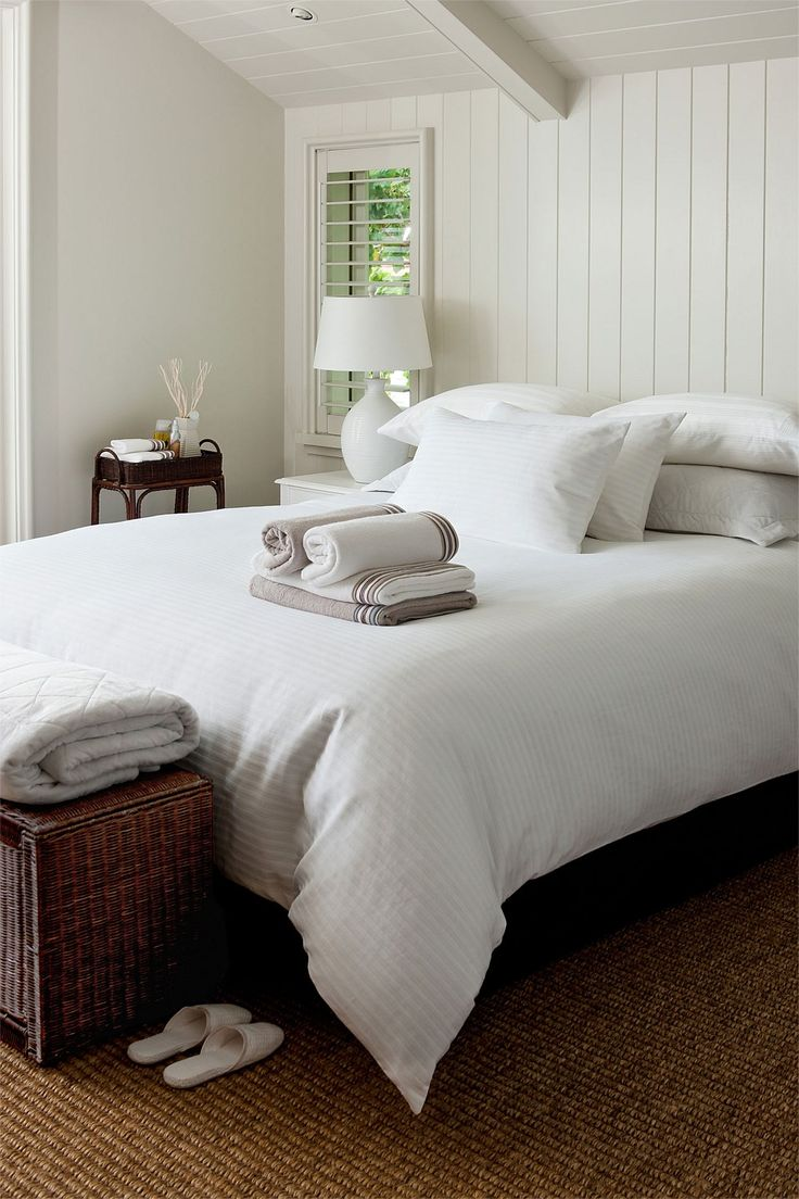 Guest room-simple-all white...I could see doing this look..maybe add a brown throw pillow, keeping it simple.