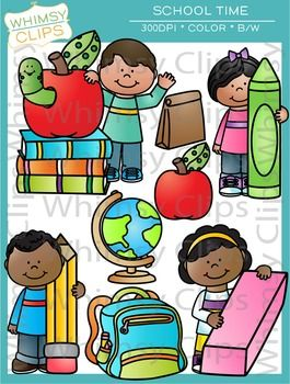 The School Time clip art set contains 32 image files, which includes 16 color images and 16 black & white images in png and jpg. All images are 300dpi for better scaling and printing. $