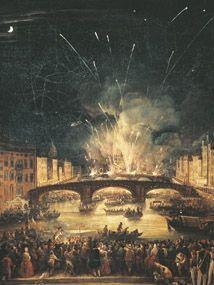 Feu d'artifice, sur le Ponte Vecchio (détail), Giovani Signorini, huile sur toile, 1843. Palais Pitti, Florence.