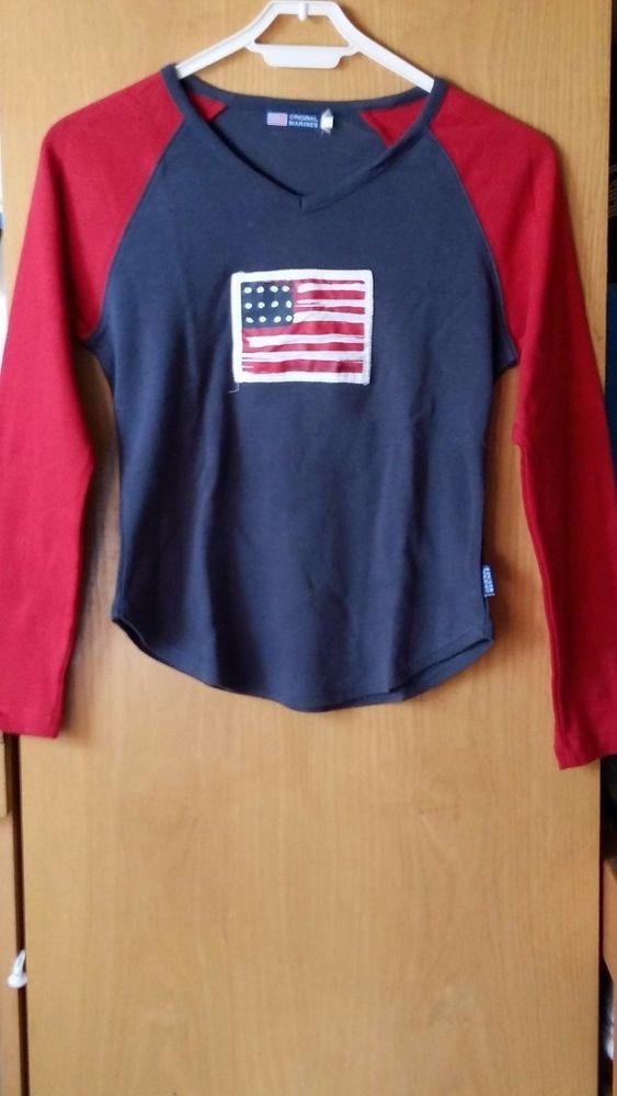 Maglietta Original Marines  con scollo a V e maniche a tre quarti tg.XS