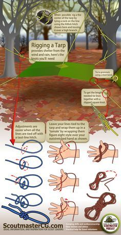 How to Rig a Tarp | 22 Absolutely Essential Diagrams You Need For Camping! #Camping #outdoors