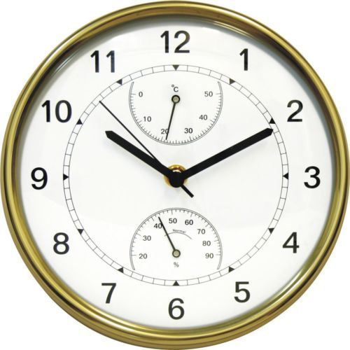 Brass-Wall-Clock-With-Thermometer-Hygrometer-Contemporary-Design-New