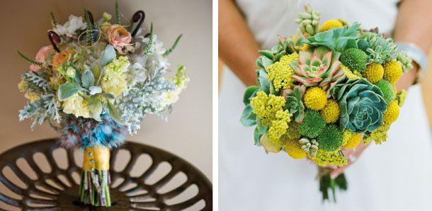 Bouquet bellissimi colori pastello, craspedia globosa piantine grasse    ..very different (like the one on the right)