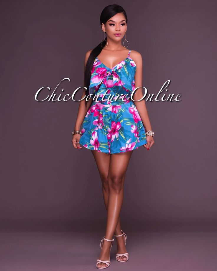 Chic Couture Online - Charis Teal Pink Floral Two Piece Set, (http://www.chiccoutureonline.com/charis-teal-pink-floral-two-piece-set/)