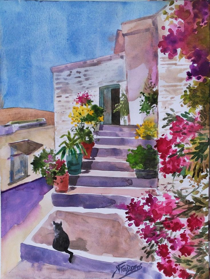 ''Aegean light'' 30x40 cm watercolor by Babis Douzepis