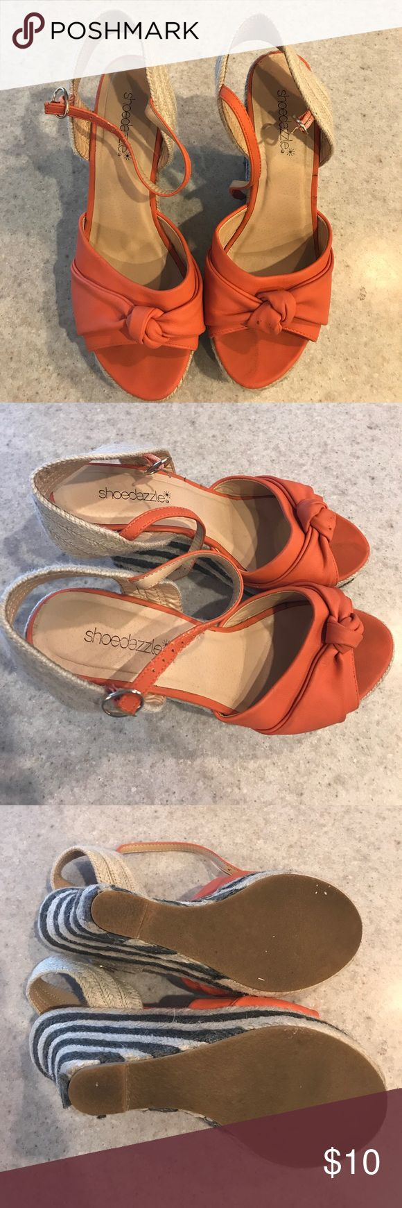 Shoe Dazzle Orange Wedges Barely worn, in good condition. Shoe Dazzle Shoes Wedges
