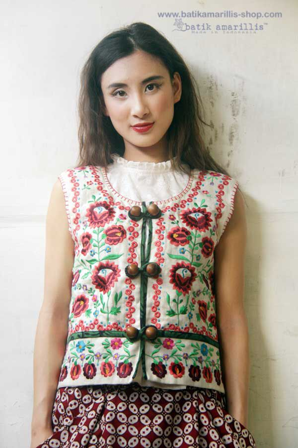 Batik Amarillis made in Indonesia ..inspired by Fabulous vintage traditional Polish waistcoat with rich,meticulous,colorful and intricate vintage Hungarian embroidery style combined with Indonesia's traditional textiles such batiks and ikats.