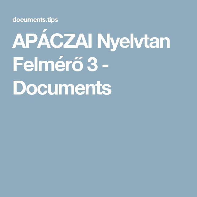 APÁCZAI Nyelvtan Felmérő 3 - Documents