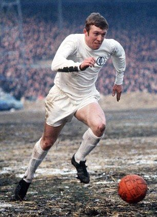 30th November 1968. Leeds United centre forward Mick Jones on a frozen Stamford Bridge pitch.