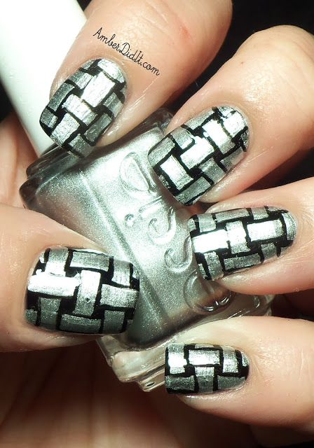 Basket Weave Nail Design with Black and Silver