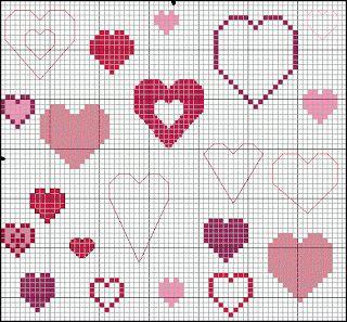 ♥ Korsstygns-Arkivet ♥: HJÄRTAN TILL VALENTIN-DAGEN DEN 14 FEBRUARI.