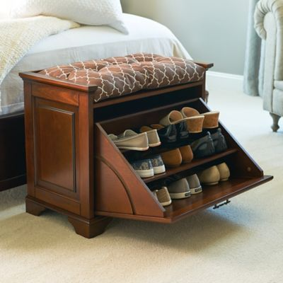 Find a shoe bench for small spaces that offers convenient shoe storage and a comfy seat. Wood and wood composites; available in 3 stylish finishes.