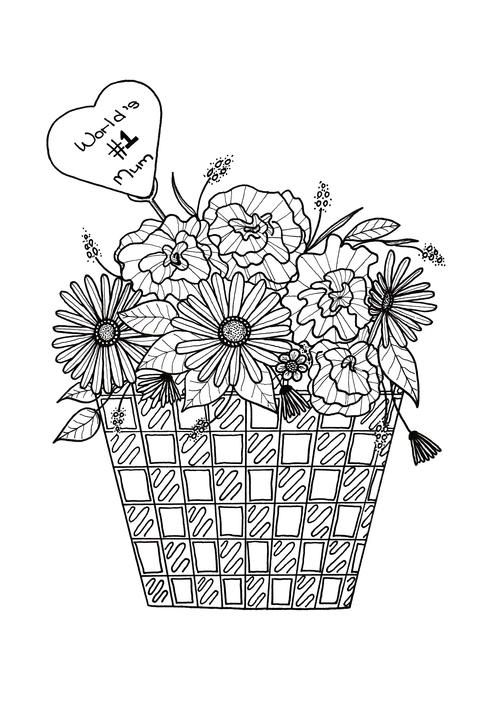 Flower Basket Mothers Day Coloring Page