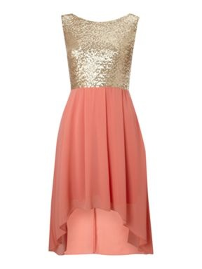 tfnc Sequin Sarah high low dress Coral - House of Fraser