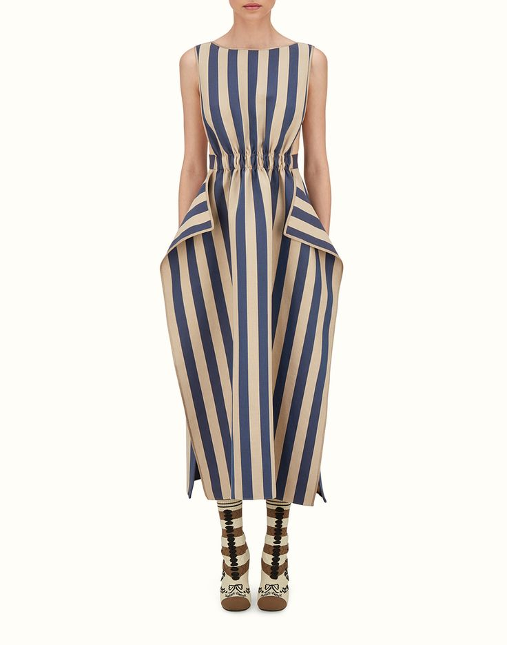 FENDI LONG DRESS - Dress in blue and beige striped canvas