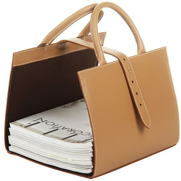 Midipy Les Territoires de la Nature - Leather Magazine Holder - Camel found on Polyvore