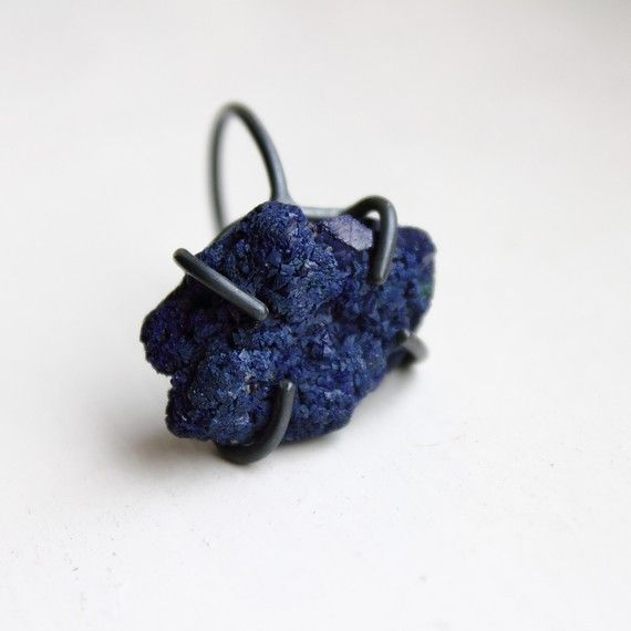 Deep . oxidized sterling silver royal blue azurite by jewelryMirta