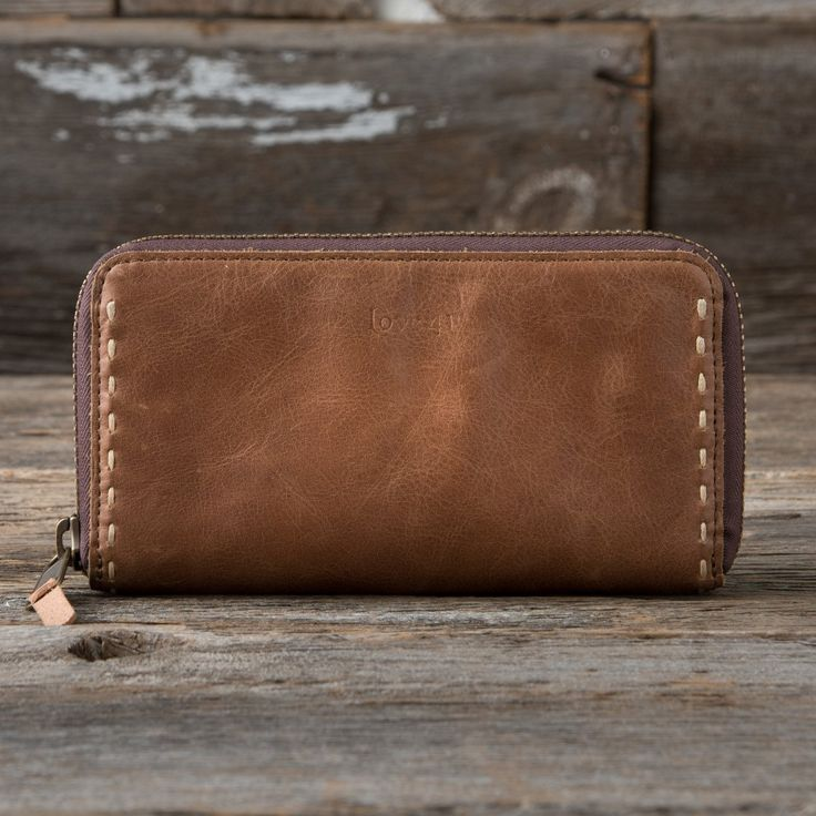 Continental Leather Wallet  in caramel brown