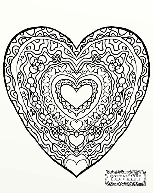 Heart abstract doodle zentangle coloring pages colouring for Abstract heart coloring pages