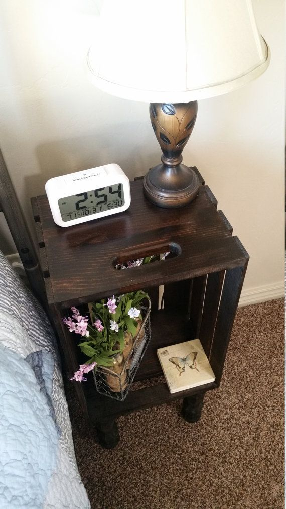 Stained Wood Crate Bedside Table Nightstand End By Crateyourhome