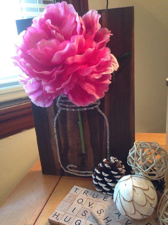Mason Jar Flower String Art от HeartlandHomes на Etsy